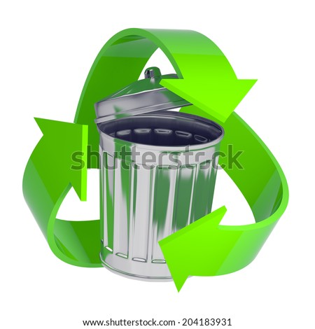 3d render of a galvanized steel rubbish bin surrounded by a green recycle symbol - stock photo