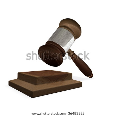 3d render of a gavel and block illustration representing the legal system - stock photo