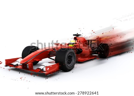 3D render of a generic F1 racing car with special effect added - stock photo