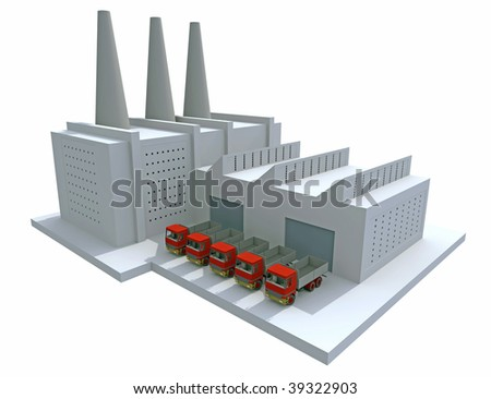 3D render of a generic factory - stock photo