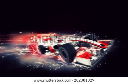 3D render of a generic racing car with special speed effect - stock photo