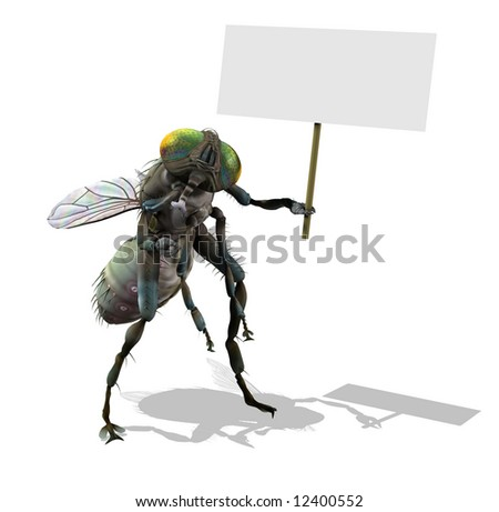 3D render of a giant fly holding a blank sign. - stock photo
