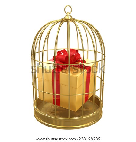 3d render of a gift in a birdcage - stock photo