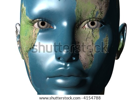 3D render of a Girl with world map on her face