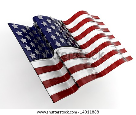 3D render of a glass styled American flag