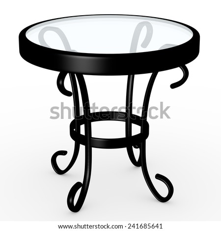3d Render of a Glass Top Table - stock photo