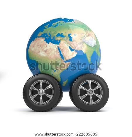 3d render of a globe of the Earth on car wheels - stock photo
