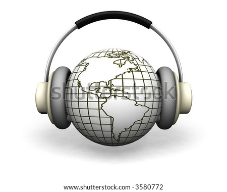 3D render of a globe with headphones