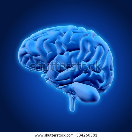 3D render of a glowing brain - stock photo