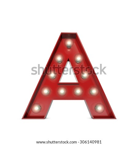 3D render of a glowing letter A broadway theatre style - stock photo