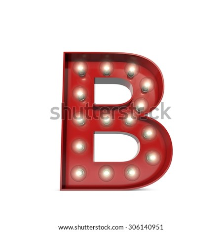 3D render of a glowing letter B broadway theatre style - stock photo