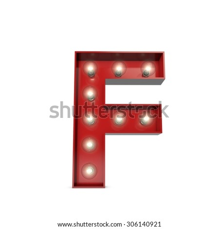 3D render of a glowing letter F broadway theatre style - stock photo