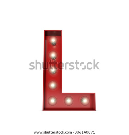 3D render of a glowing letter L broadway theatre style - stock photo