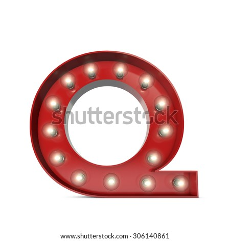 3D render of a glowing letter Q  broadway theatre style - stock photo