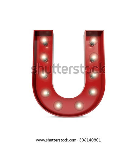 3D render of a glowing letter U broadway theatre style - stock photo