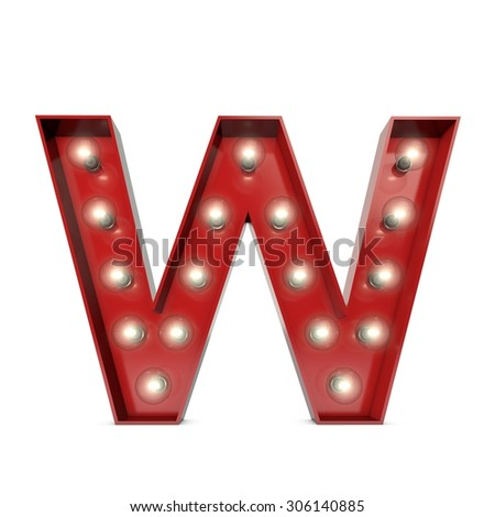 3D render of a glowing letter W broadway theatre style - stock photo
