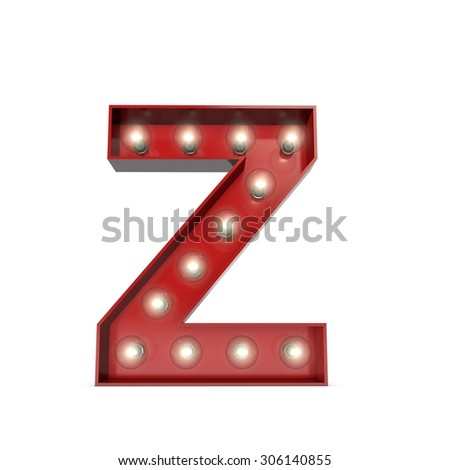 3D render of a glowing letter Z broadway theatre style - stock photo