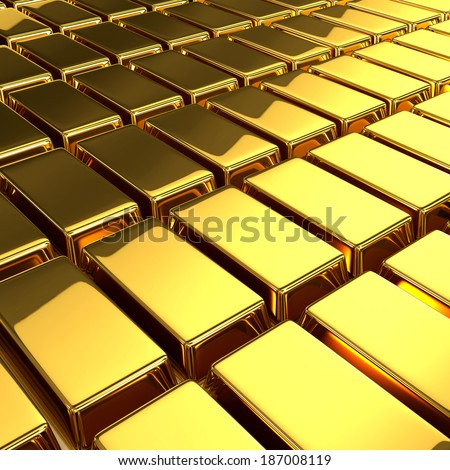 3d render of a gold bars - stock photo
