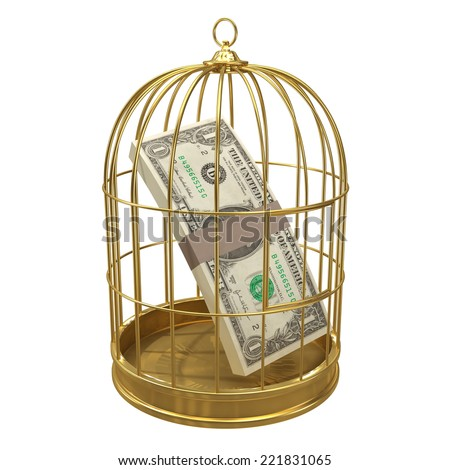 3d render of a gold birdcage with US Dollars inside - stock photo