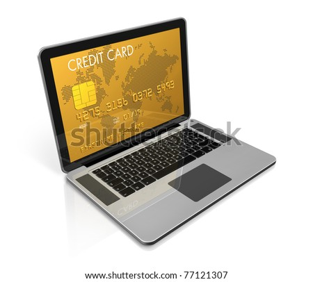 3D render of a gold credit card on a laptop screen- isolated on white with clipping path - stock photo