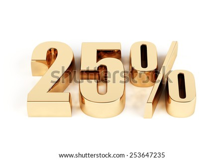 3d render of a gold 25 percent - stock photo