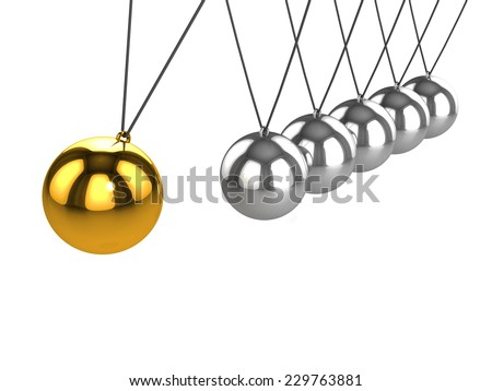 3d render of a golden ball about to hit on a Newtons Cradle. - stock photo