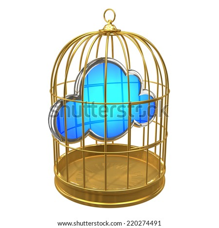 3d render of a golden birdcage with a cloud symbol inside - stock photo