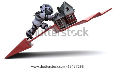 3D render of a Graph Depicting Declining Property Prices - stock photo