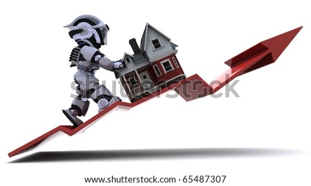 3D render of a Graph Depicting Risiing Property Prices - stock photo