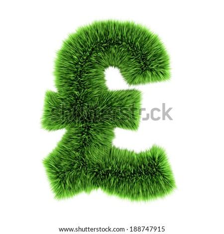 3d render of a grass UK Pound sterling symbol - stock photo