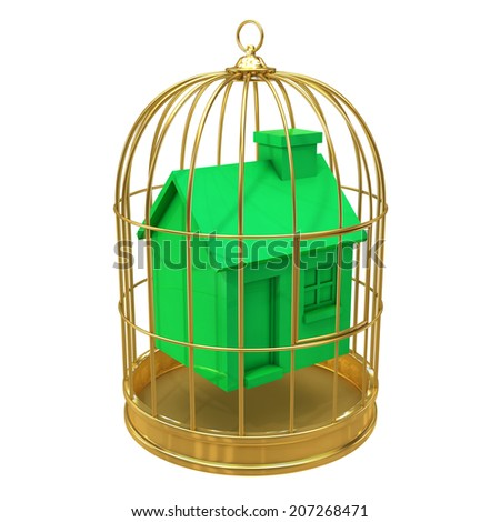 3d render of a green house in a gold cage - stock photo