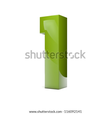 3d render of a green number one