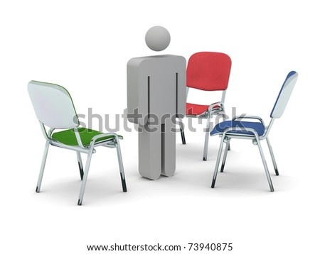 3d render of a grey figurine standing in between three coloured chairs