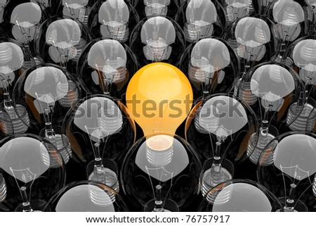 3d render of a group of light bulbs - stock photo