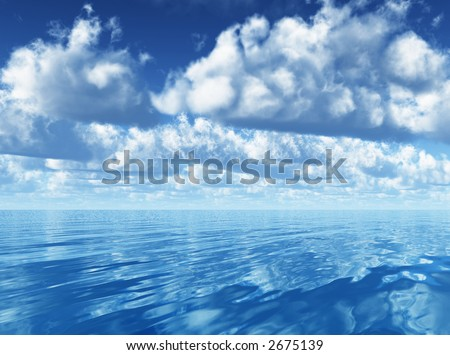 3d render of a group of white clouds running upon the ocean - stock photo