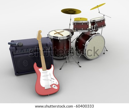 3d render of a guitar amplifier and drum kit - stock photo
