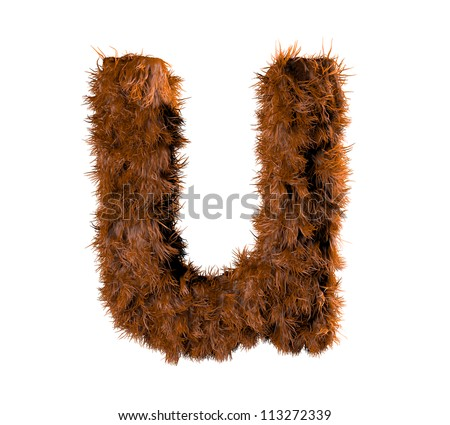 3d render of a hairy u - stock photo