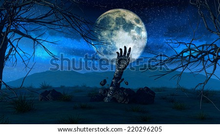 3D render of a Halloween background with a zombie hand coming out of the ground