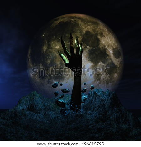 3D render of a Halloween background with zombie hand erupting out of the ground