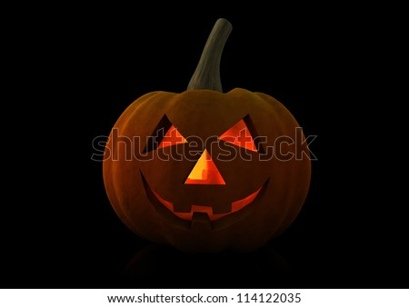 3d render of a halloween pumpkin isolated on black