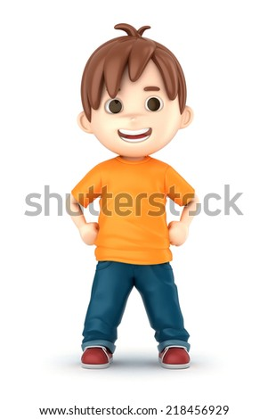 3D render of a happy boy - stock photo
