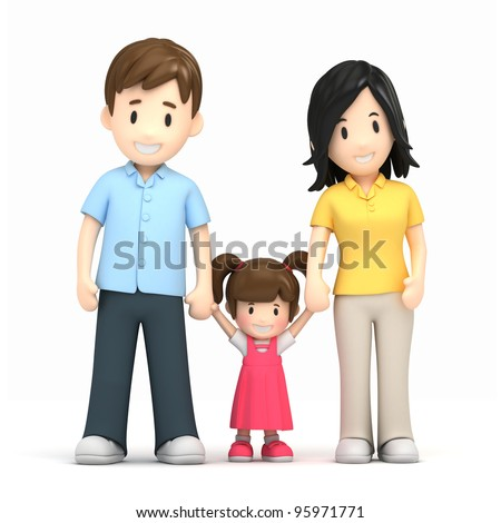 3d render of a happy family - stock photo