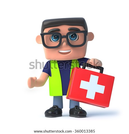 3d render of a health and safety officer holding a first aid kit. - stock photo