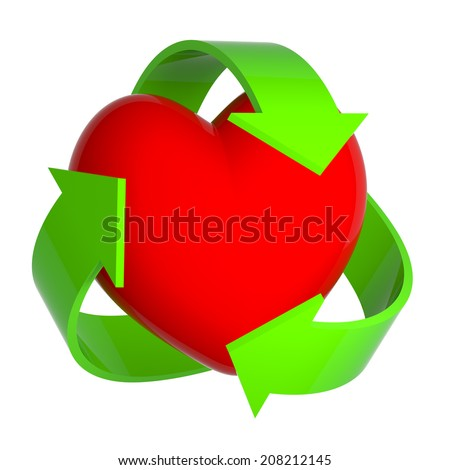3d render of a heart being surrounded by a recycle symbol - stock photo