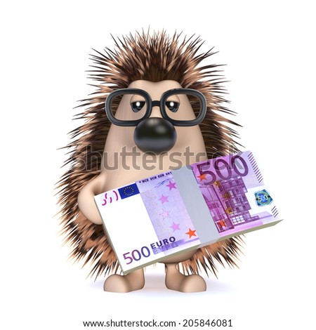3d render of a hedge holding Euro currency notes - stock photo