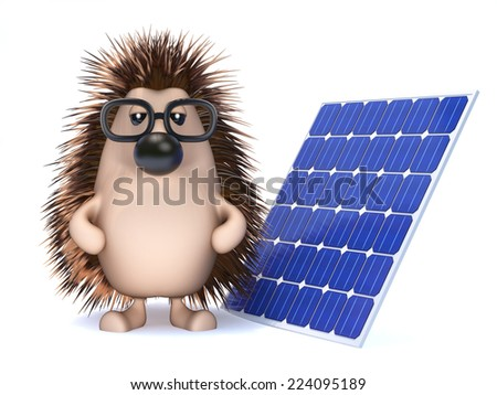 3d render of a hedgehog with a solar panel - stock photo
