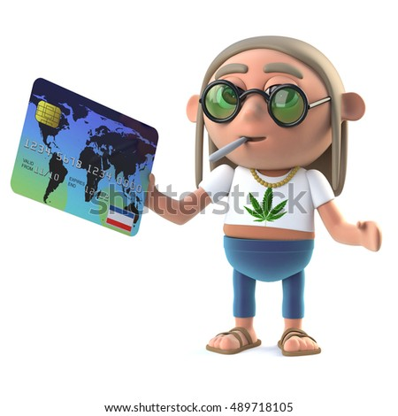 3d render of a hippie stoner holding a debit card