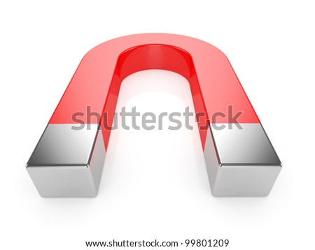 3d render of a horseshoe magnet over a white background - stock photo
