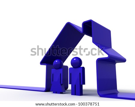 3d render of a house symbol and a couple isolated on white - stock photo