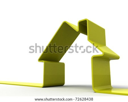 3d render of a house symbol isolated on white